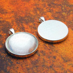 30mm Circle Shiny Silver Pendant Tray