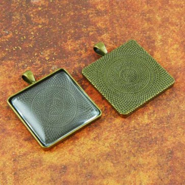 30mm Square Antique Brass Pendant Tray