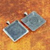 30mm Square Antique Silver Pendant Tray Flat Glass