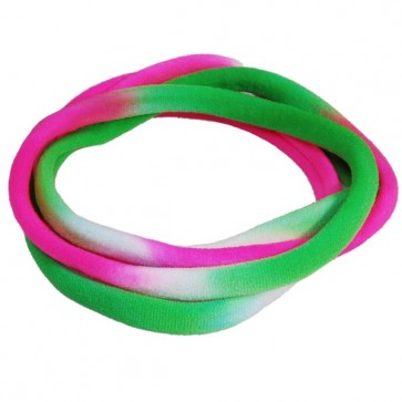 Green/White/Pink TieDye Medium Nylon Choker Necklace