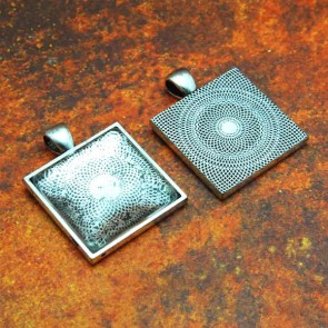 25mm 1 Inch Square Antique Silver Pendant Tray
