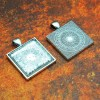 25mm 1 Inch Square Antique Silver Pendant Tray Flat Glass