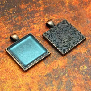 25mm 1 Inch Square Antique Copper Pendant Tray Flat Glass