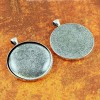 38mm 1.5 Inch Circle Antique Silver Pendant Tray