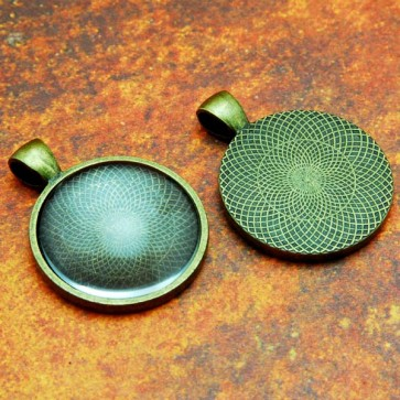 25mm 1 Inch Circle Antique Brass Pendant Tray