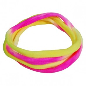 Yellow/White/Pink TieDye Large Nylon Choker Necklace