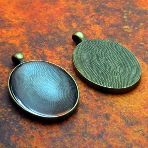 30mm x 40mm Oval Antique Brass Pendant Tray