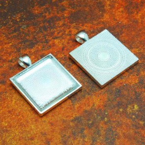 25mm 1 Inch Square Shiny Silver Pendant Tray Flat Glass