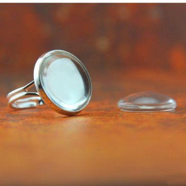 16mm - Shiny Silver - Adjustable Ring Blanks