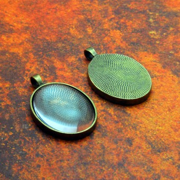 22mm x 30mm Oval Antique Brass Pendant Tray