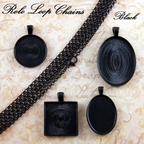 Black Rolo Loop Chains 3mm 24 Inch