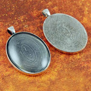 30mm x 40mm Oval Antique Silver Pendant Tray