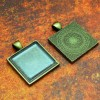 25mm 1 Inch Square Antique Brass Pendant Tray Flat Glass
