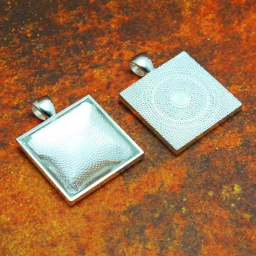 25mm 1 Inch Square Shiny Silver Tray