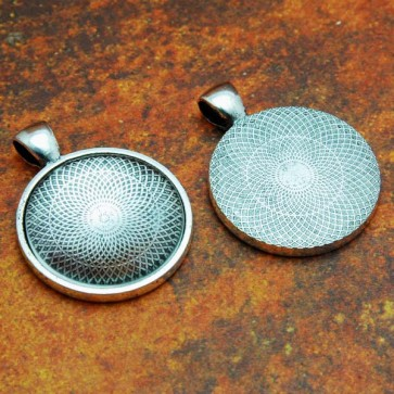 25mm 1 Inch Circle Antique Silver Pendant Tray