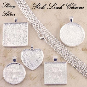 Shiny Silver Rolo Oval Link Chains 2mm 24 Inch