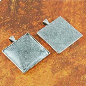 35mm 1-3/8 Square Inch Antique Silver Pendant Tray