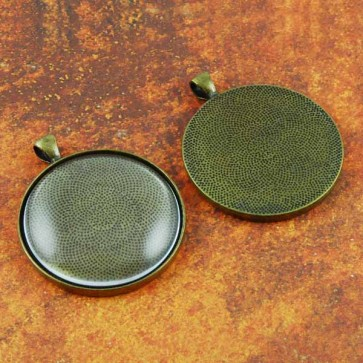 38mm 1.5 Inch Circle Antique Brass Pendant Tray