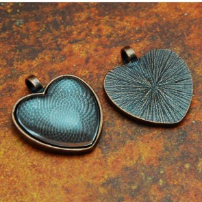 25mm 1 Inch Heart Antique Copper Pendant Tray